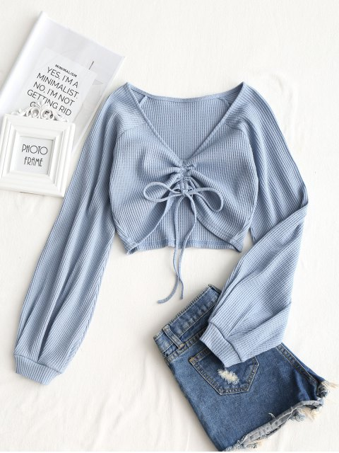 unique Textured Knitted Gathered Top - GREY BLUE M Mobile