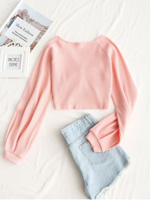 trendy Textured Knitted Gathered Top - DEEP PINK S Mobile