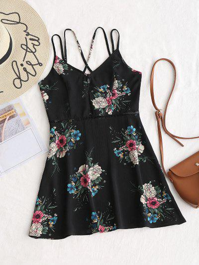 Hollow Out Floral Criss Cross Mini Dress - Black