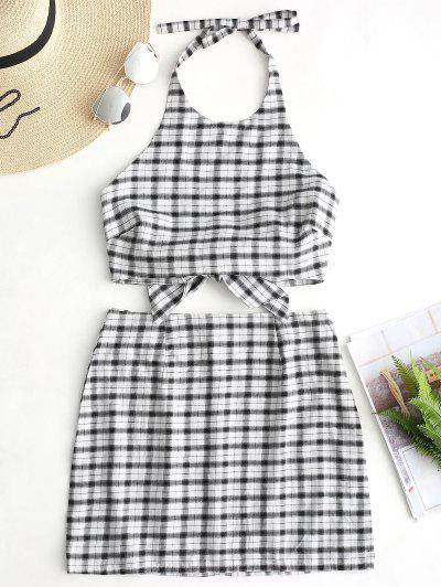 Plaid Crop Halter Top And Skirt Set - Black S