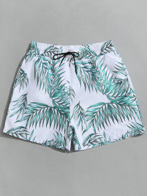 Drawstring Leaf Print Beach Board Shorts