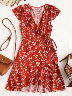 Tiny Floral Ruffle Mini Wrap Dress - Brick-red M