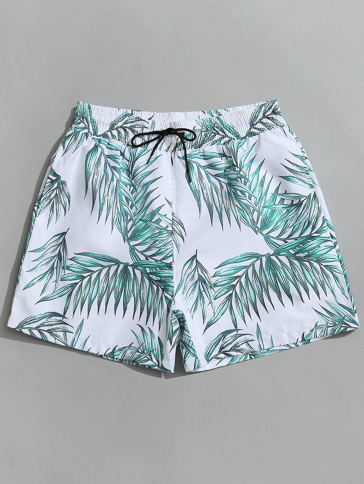 Купить со скидкой Drawstring Leaf Print Beach Board Shorts