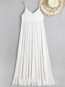 كامي يتجعد الملمس فستان ماكسي الشاطئ المخلوطة - أبيض S