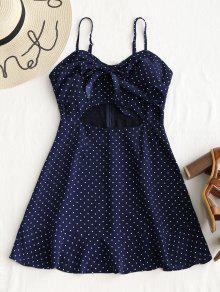 فستان مصغر ذو فتحات البولكا نقطة ربطة - ازرق غامق L