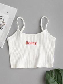 مضلع اقتصاص العسل مطرزة تانك الأعلى - أبيض M