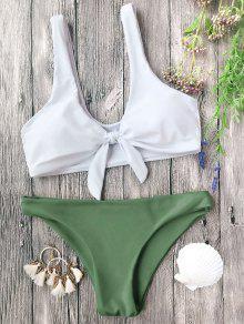مبطن معقود براليت بيكيني مجموعة - الأبيض والأخضر L