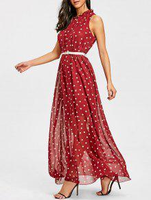 البولكا نقطة تراكب شير فستان ماكسي - أحمر M