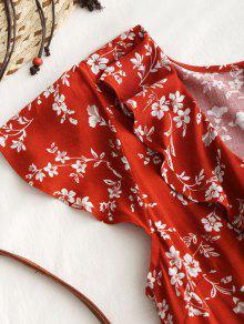 Volantes Min Ladrillo Minivestido Con L Florales Rojo 250;sculos awxq74fq5