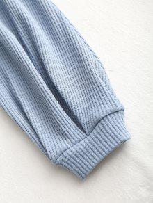 Azul Fruncido Texturizado Top S Gris De Punto IwSqxn0P7