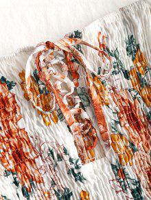 Minifalda De Shoulder Shirred Floral Off Blanco aqTaw8r