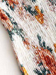 Floral De Shoulder Blanco Minifalda Shirred Off nIgCaS