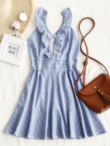 فستان مصغر كشكش مخطط - الضوء الأزرق S