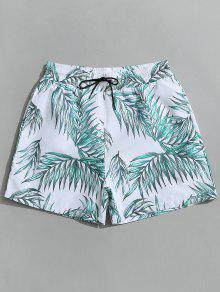 شورت سباحة برباط مزين بطبعة أوراق الاشجار - أبيض Xl