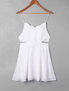 فستان سوينغ ذو فتحات - أبيض S