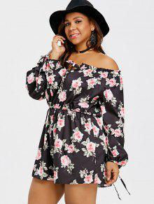 45e43da2c151 2019 Plus Size Floral Off The Shoulder Romper In BLACK XL