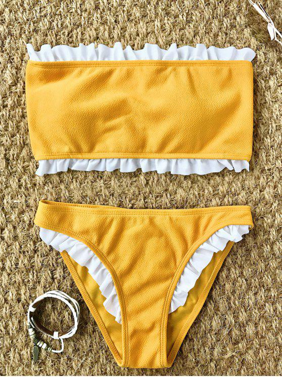 online Frilled Textured Lace-up Bikini Set - YELLOW L
