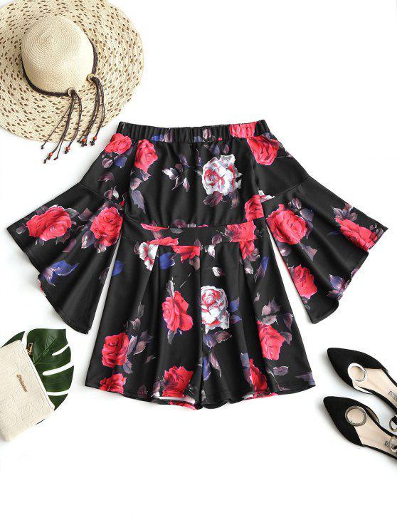 hot Off Shoulder Floral Flare Sleeve Romper - BLACK XL