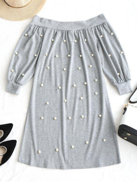 hot Off Shoulder Beading Mini Dress - LIGHT GRAY L
