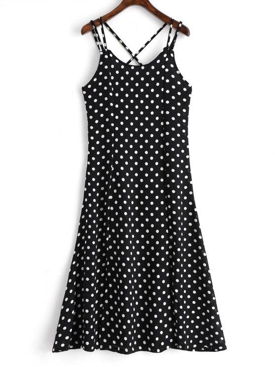 chic High Slit Cross Back Polka Dot Cami Dress - BLACK L