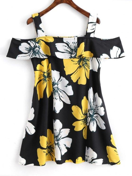 فستان مصغر طباعة الأزهار باردة الكتف كشكش - الأزهار XL