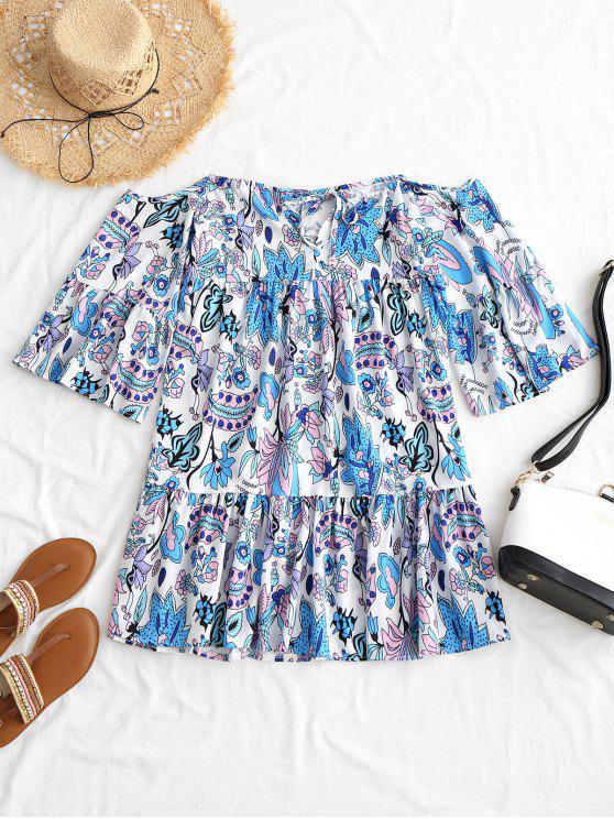 fancy Floral Print Cami Mini Dress - FLORAL L