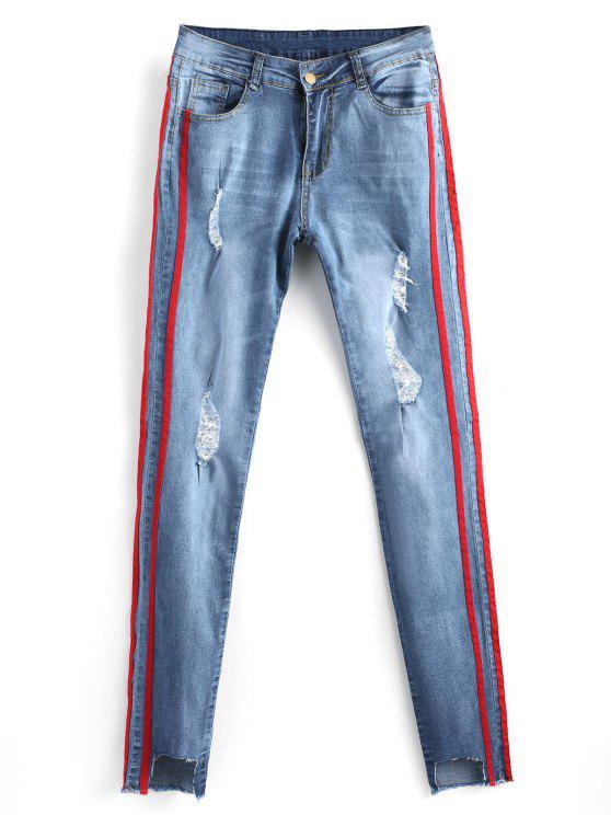 جينز ممزق مهترئ ذو فتحات - ازرق 2XL