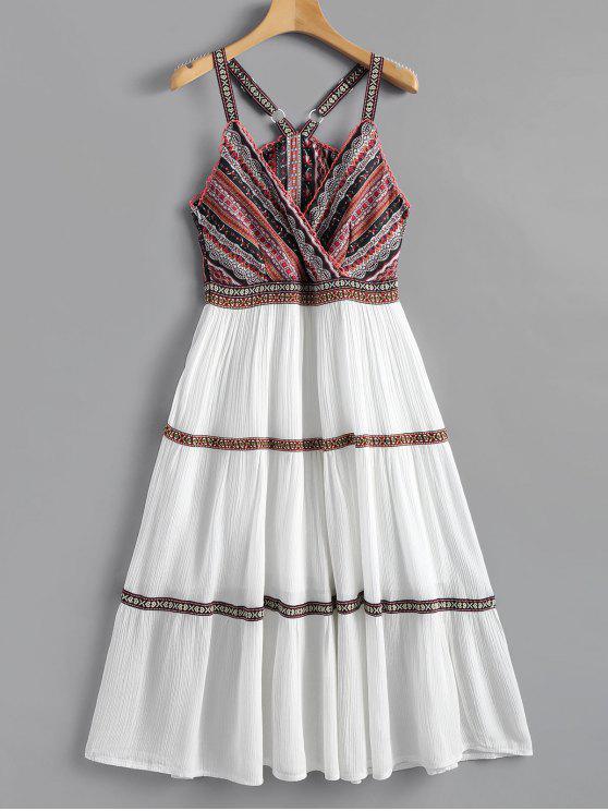 Gedruckt Ärmelloses Flare Böhmisches Kleid - Weiß M
