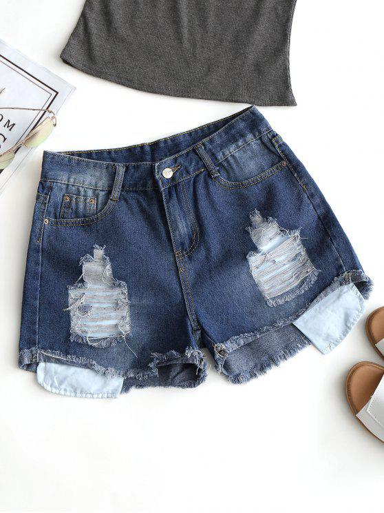 Frayed Hem Denim Ripped Shorts - Azul Profundo L