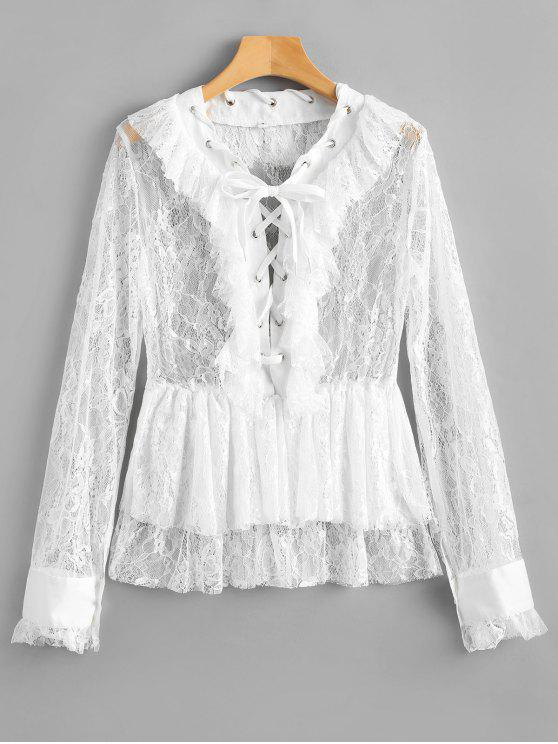 40779ea884b0b9 28% OFF] 2019 Lace Up Ruffles Sheer Lace Blouse In WHITE | ZAFUL