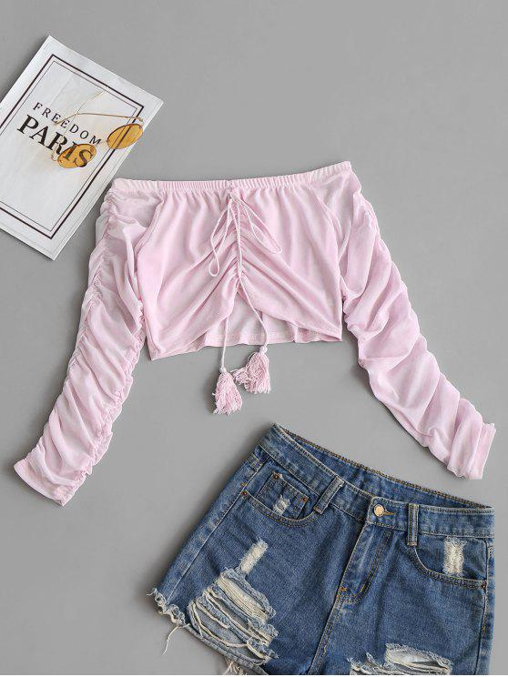 shops Off Shoulder Ruched Crop Mesh Blouse - SHALLOW PINK M