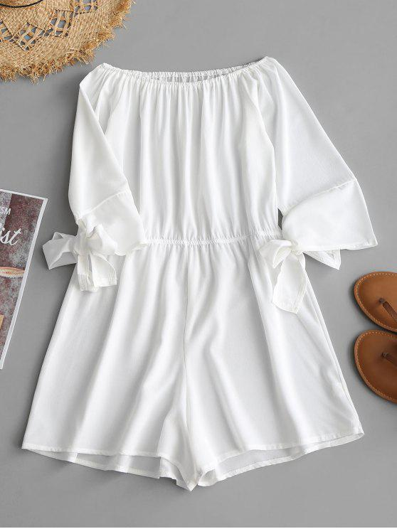 chic Off Shoulder Tied Bowknot Romper - WHITE L