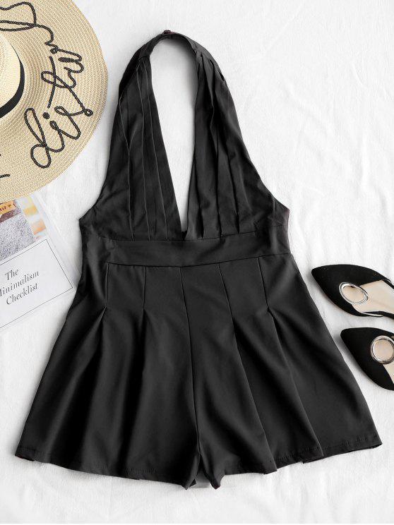 Barboteuse Licou à Dos Nu Et Taille Haute - Noir XL