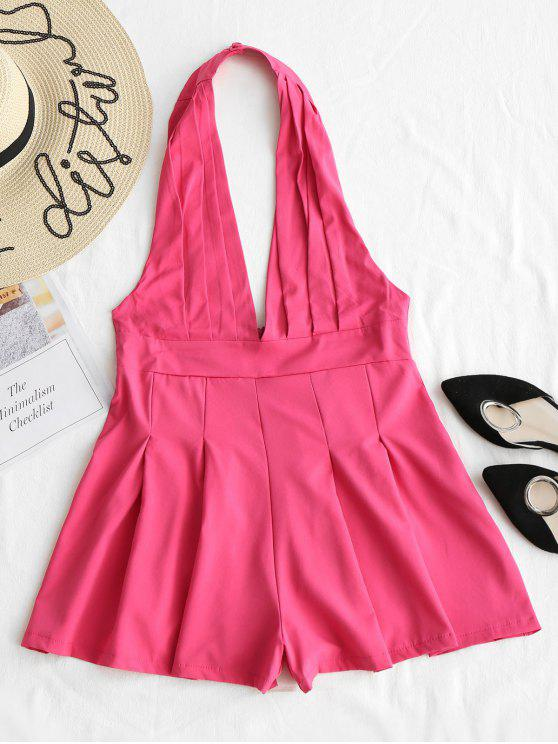 ladies Backless High Waist Halter Romper - ROSE RED M
