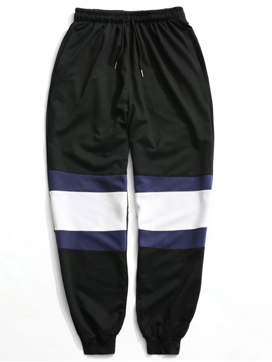 outfits Color Block Jogger Pants - BLACK 2XL