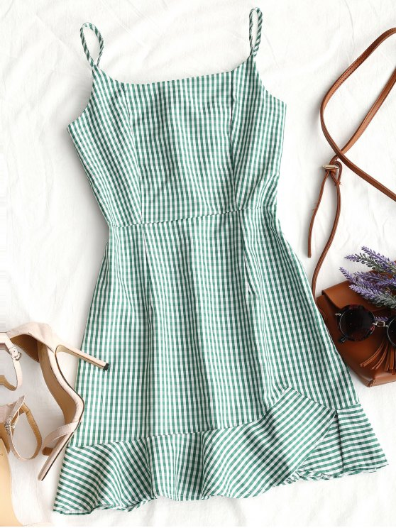 new Back Zip Checked Ruffles Mini Dress - GREEN S