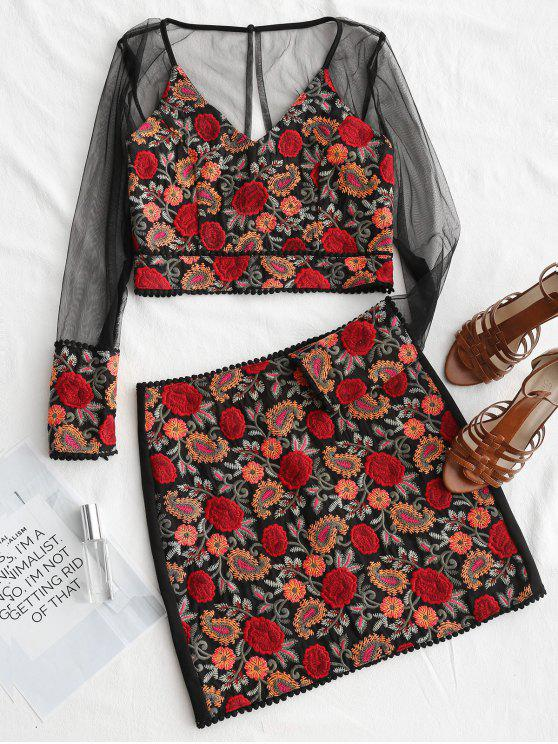 trendy Gauzy Floral Embroidered Top and Mini Skirt Set - FLORAL M
