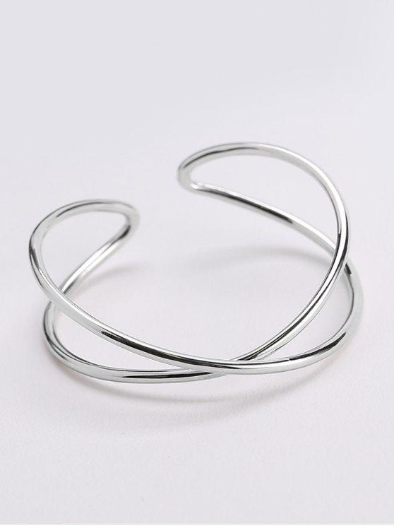 Pulsera de brazalete de metal con diseño irregular - Plata