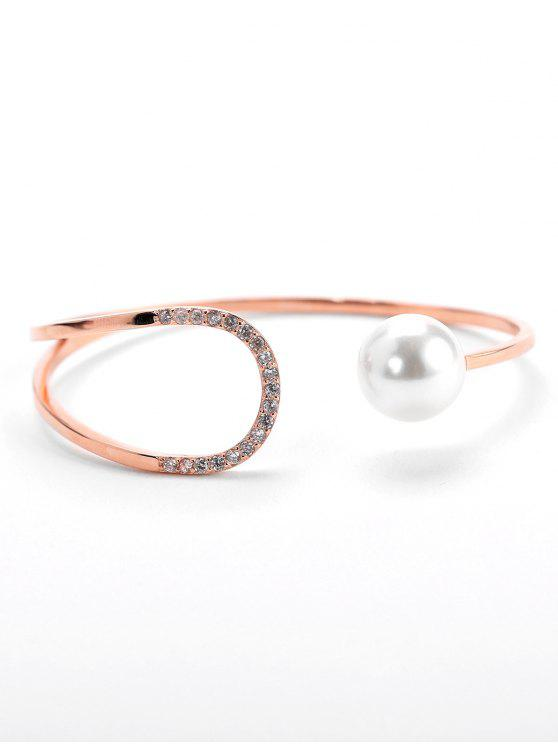 women Valentine's Day Faux Pearl Design Cuff Bracelet - ROSE GOLD