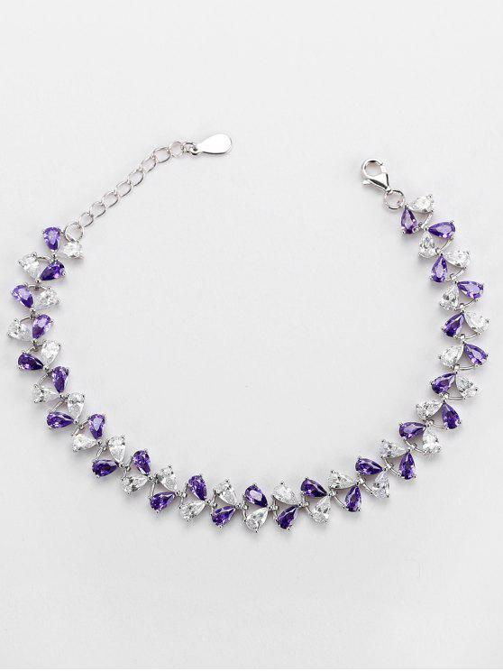 lady Valentine's Day Faux Amethyst Charm Bracelet - PURPLE