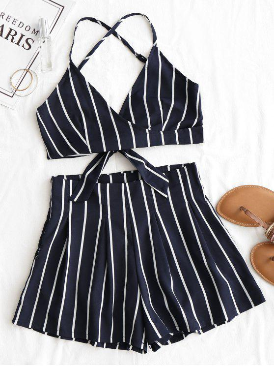 Striped Backless Cami Top y Shorts Set - Azul Purpúreo M