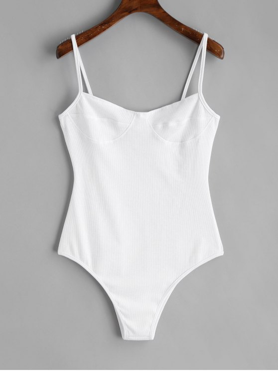 womens Skinny Knitted Bralette Bodysuit - WHITE L