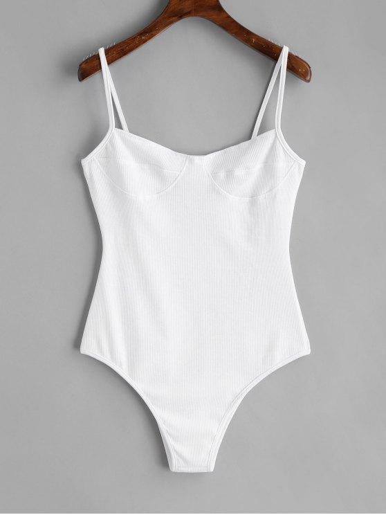 Dünner Strick Bralette Bodysuit - Weiß M