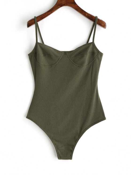 lady Skinny Knitted Bralette Bodysuit - ARMY GREEN L