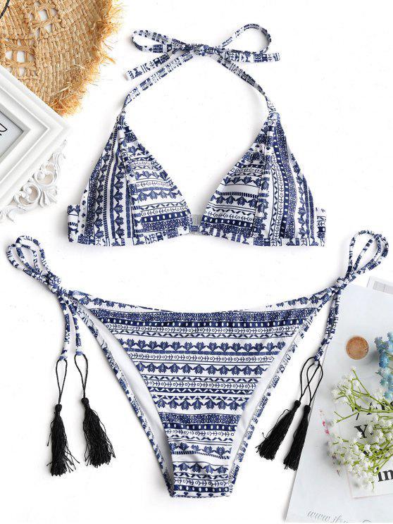 Top de Bikini Imprimé Tribal avec String - Multicolore S
