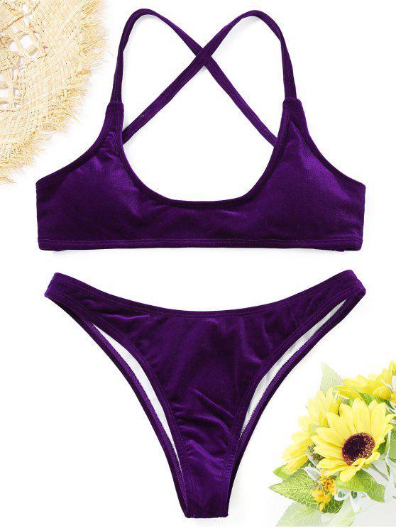 best Velvet High Cut Bikini Set - PURPLE L
