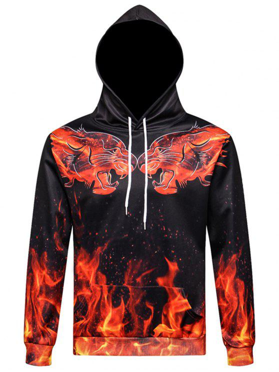 7457a3a132f8 3D Tigers Flame Print Pullover Hoodie COLORMIX  Hoodies ...