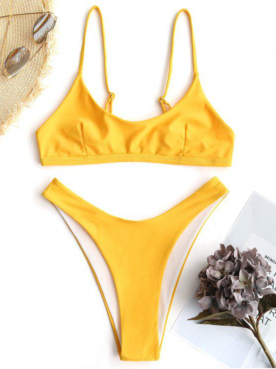 women's High Cut Bralette Bikini Set - YELLOW S