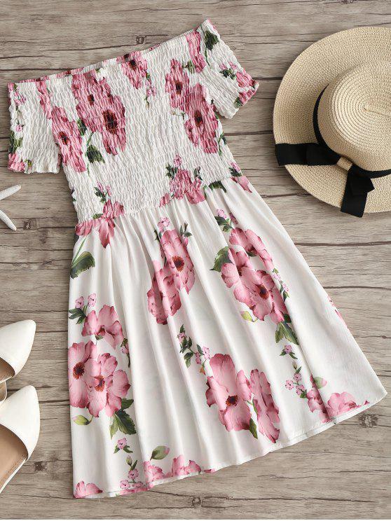 buy Off Shoulder Smocked Floral Flare Dress - WHITE M