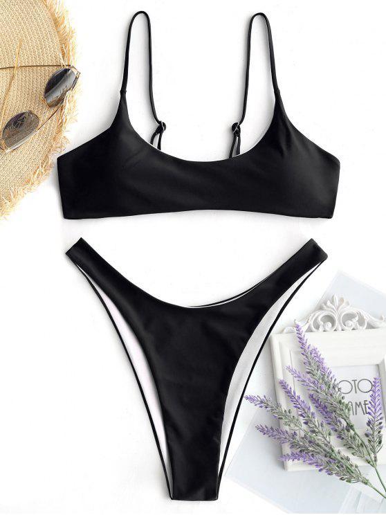 Gepolsterte Bikini Top Und Hohe Schlitz Badehose - Schwarz L